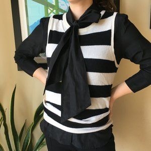 JOIE Cashmere Black & Cream Striped Vest, Small